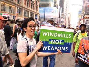 wind power marchers photos climate march nyc
